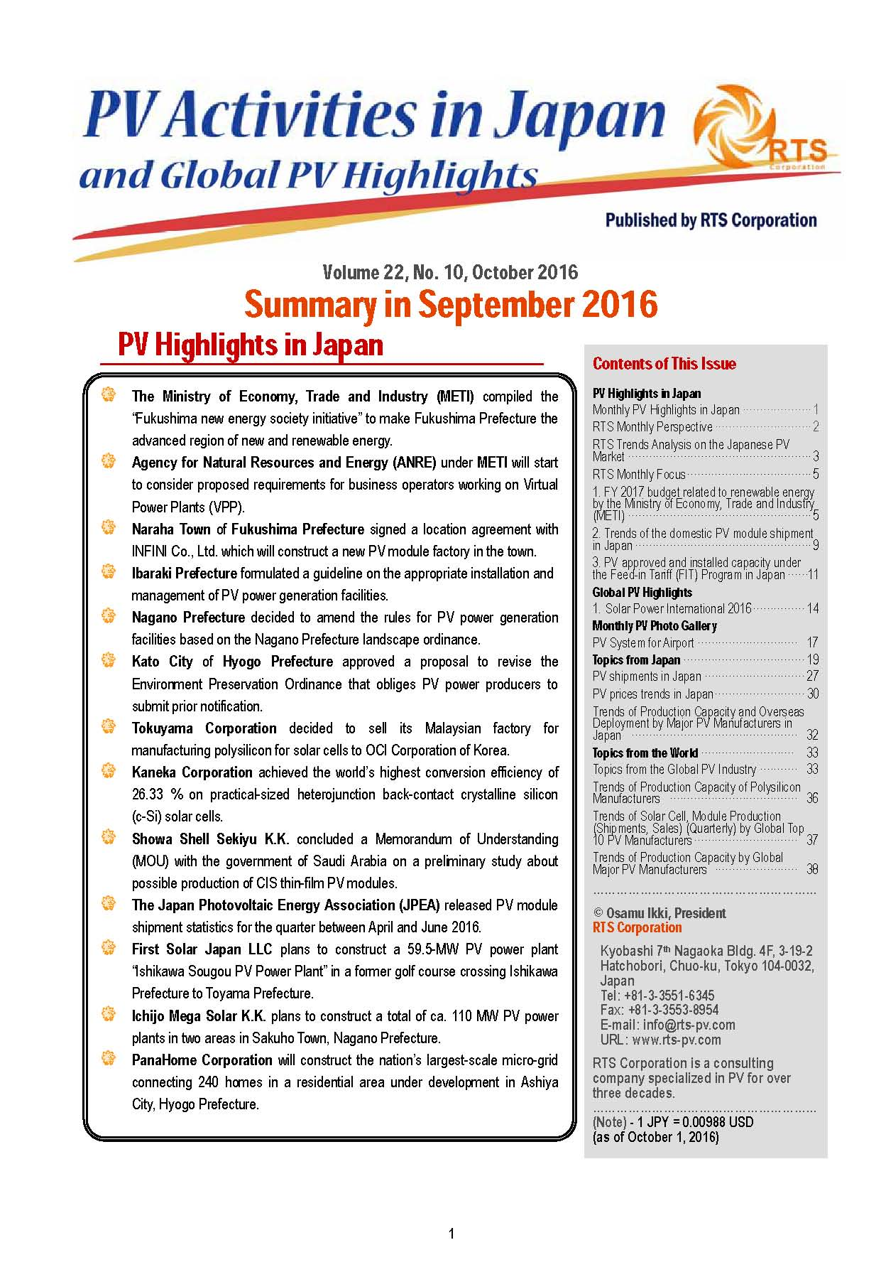 PV Activities in Japan and Global PV Highlights(monthly report)